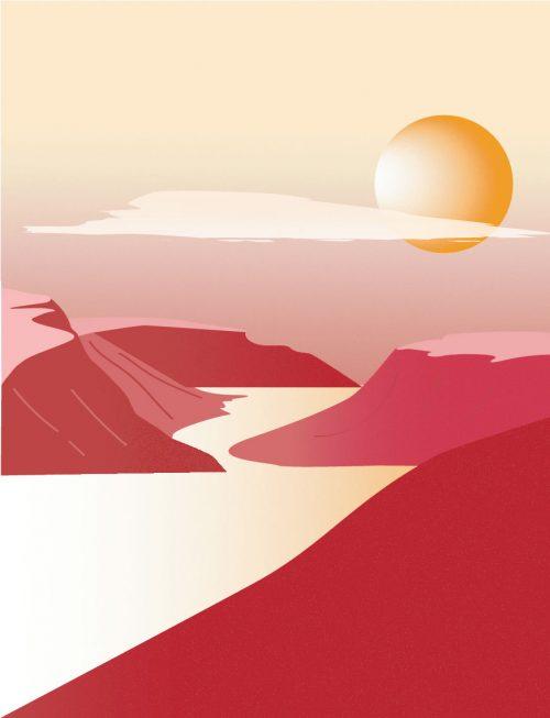 Illustration - Magali Boyer - Coucher de soleil sur le lac